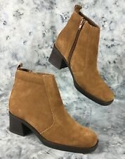 Leather Craft Jennifer Women's Brown Suede Leather Ankle Boots 2' Heels Size 8 M
