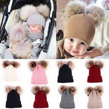 Infant Toddler Kids Baby Winter Warm Beanie Hat Knit Fur Pom Beanie Ski Ball Cap