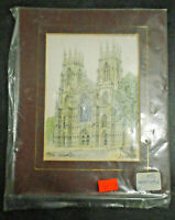 VINTAGE ART PRINT HAND TINTED YORK MINSTER D.A. HAROLD 8 X 6.5