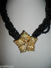 Vintage Antique Choker Necklace Black Beaded Gold Rhinestone Crystal Flower