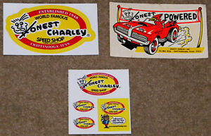 """6 DIFFERENT VINTAGE """"HONEST CHARLEY SPEED SHOP"""" DRAG RACING STICKERS-IN NM COND!"""