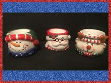 NEW! Home Interiors HOLIDAY 3 Tea-Light CANDLE HOLDERS Santa, Snowman & Reindeer