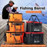 Portable Bait Bucket Square Foldable Waterproof Water Carp Fishing With Strap Y