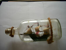 VINTAGE WOODEN SHIP SAILBOAT IN CLEAR GLASS BOTTLE W/CORK & ROPES