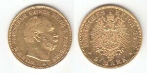 Kaiserreich-Preussen,  Wilhelm I. 1866-1988  5 Mark Gold 1877 A. Jaeger 244.