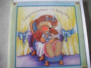Congratulations A BABY BOY (Mother Hedgehog & Baby) Country Companions Card