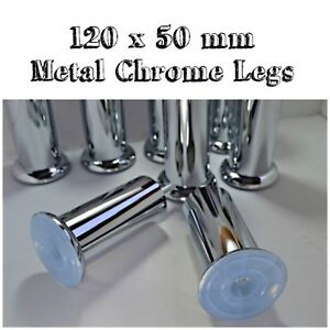 Metal Chrome Furniture Legs/Feet 120 mm x 50 mm Available in Packs 4,6,8,12 & 24
