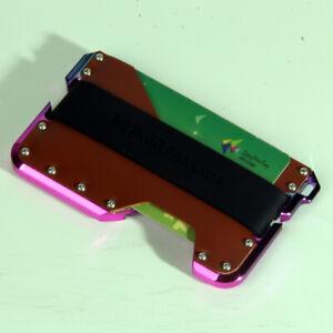 Slim real leather Credit Card Holder RFID Blocking Men Metal Wallet