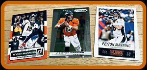 LOT OF 3 DIFFERENT PEYTON MANNING 2013 PRIZM  2014 SCORE & 2015 DONRUSS ALL NMMT