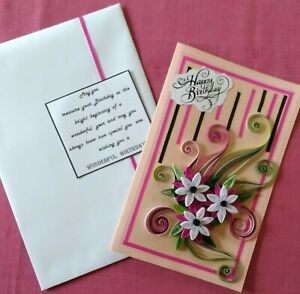New Handmade Paper Quilling Birthday Greeting Card