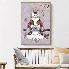 Art Silk Canvas Ukiyoe Tattoo Cat Japan Paint Poster Asian Decor Unframed S678