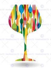 PAINTING ABSTRACT WINE GLASS INSET CUTLERY VECTOR POSTER PRINT BMP11242