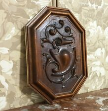Scroll leaves armorial wood carving panel Antique french architectural salvage