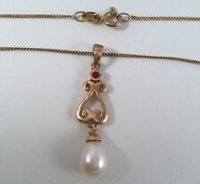 Vintage Jewellery Gold Necklace Chain Pearl Ruby Pendant Antique Deco Jewelry