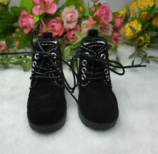 "MSD DOC 1/4 Bjd 17"" Sasha Obitsu 60cm Doll Shoes High Hill Velvet Boots BLACK"