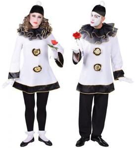 Clown Pierrot Harlekin Kostüm Kleid Herren Damen Kasper Clownkleid Clownkostüm