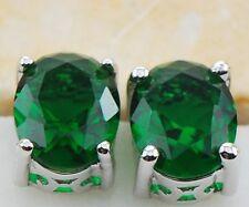 925 Sterling Silver Earrings Emerald  Gemstone Stud  Earrings
