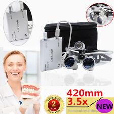 Dental Loupes Surgical Binocular glasses 3.5x 420mm LED Head Light lamp