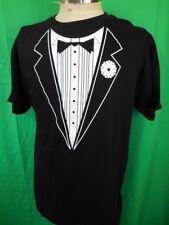 Vintage 1990s Black Cotton Tuxedo Formal Print Fun Festival Party T-shirt Medium