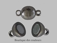 6 SET FERMOIR MAGNETIQUE DEMI CERCLE METAL ARGENTE FONCE (GUNMETAL) 11x6mm