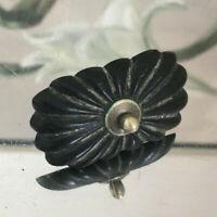 Queen Anne Deckelknauf oval antik Ebenholz Jugendstil Edwardian Schwarz komplett