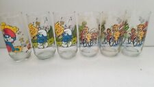 Set of 6 Vintage Cartoon Drinking Glasses Smurf and Muppet Caper