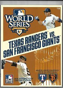 2010 Texas Rangers vs San Francisco Giants World Series Program----EX