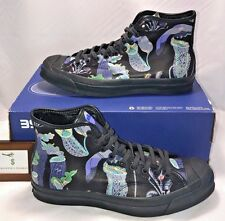 CONVERSE MENS SIZE 9.5 JACK PURCELL CARNIVOROUS PLANTS MID BLACK LEATHER RARE