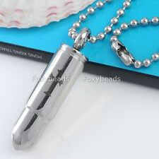 "Pendant Bead Gothic Necklace 19""L Men's Stainless Steel Bullet Holy Cross"