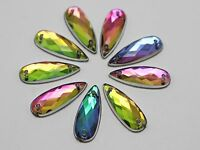 100 Rainbow AB Flatback Acrylic Long Teardrop Sewing Rhinestone Beads 8X22mm