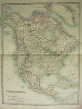 1896 LARGE VICTORIAN MAP ~ NORTH AMERICA CANADA ALASKA MEXICO UNITED STATES CUBA