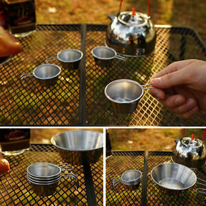 1Pcs Stainless Steel Shot Glass Cup Collapsible Handle Drinking Mug W/ Mesh *wf