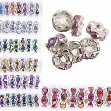 100pcs AB Color Crystal Rhinestone Findings Silver Plated Bead Beads Spacer 6mm