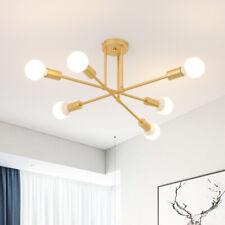 Modern 6 Light Sputnik Chandelier Ceiling Semi Flush Mount Fixtures Brass Decor