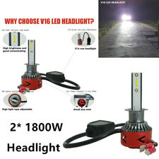 Durable 2PCS 1800W White LED Headlight Conversion Head Lamp Bulb Premium Quality