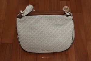 NWT Michael Kors $298 Fulton Large Signature Hobo Shoulder Handbag Tote Vanilla