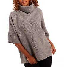 Hüftlange 3/4 Arm Damen-Pullover & -Strickware im Ponchos-Stil ohne Verschluss
