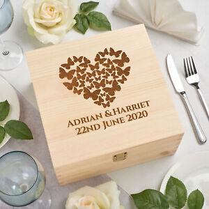 Personalised Solid Pine Wooden Keepsake Memory Box - Butterfly Heart -