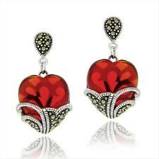 925 Sterling Silver Marcasite & Garnet Colored Glass Heart Earrings