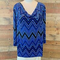 New~$48~SAMI & JO Women XL Plus Blue & Metallic-Gold 3/4-Sleeve Poly Top Shirt