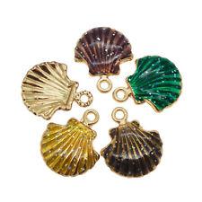 15pcs Mixed Colors Enamel Sea Shell Alloy Charms Pendants Findings Crafts 53010