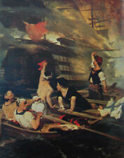"""oil painting  """"   the attack to the turkish flagship by a fireship  """"N15767"""