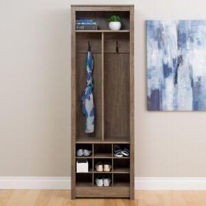 Coat Rack Space-Saving Entryway Organizer w/ Shoe Storage and Upper Shelf, Gray
