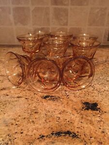 Vintage Fostoria Jamestown Amber Swirl  Footed Champagne/Sherbet Glass Set of 9