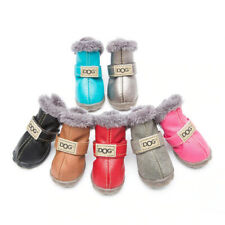Winter Pet Dog Shoes Warm Snow Boots Waterproof Fur 4Pcs/Set Boots Leather Dog