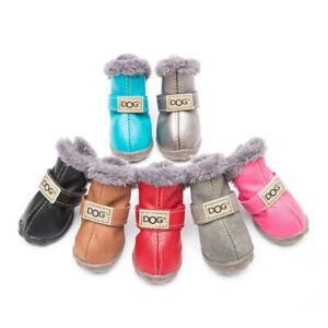 Winter Pet Dog Shoes Warm Snow Boots Waterproof Fur 4Pcs/Set Boots Leather Dog