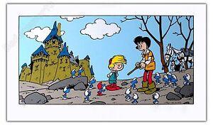 Affiche Serigraphie PEYO  Schtroumpfs Smurfs Johan Pirlouit  numérotée  48x80 cm