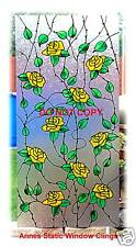 ROSE TRELLIS WINDOW CLING STAINED GLASS EFFECT SUN CATCHER DECORATION FILM DECAL