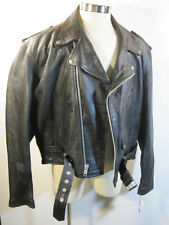 Mens Black Leather Coat Jacket 52 - XL New
