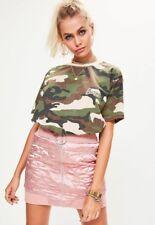 Barbie x Missguided Oversized Green Camo Printed T-shirt Size UK 8 EU 36